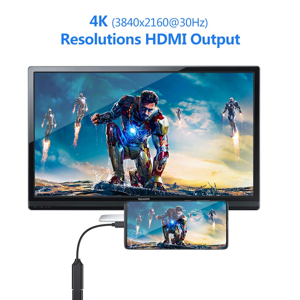 Jiqu USB C to HDMI Adapter Type C to HDMI Adapter 4K HDMI Cabel Compatible with MacBook Pro,iMac,MacBook,ChromeBook,Samsung Galaxy S8//S9 Note 9//S9//Note 8//S8,Huawei Mate 20 and More