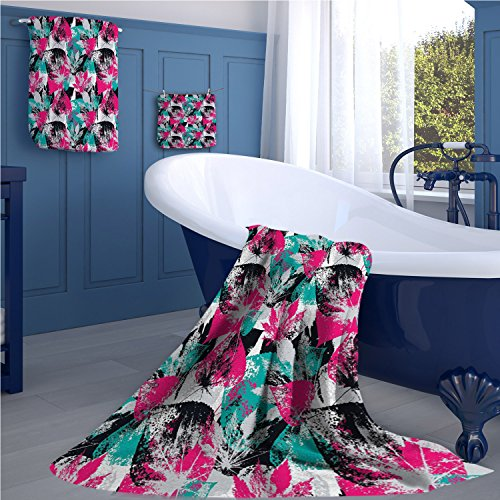 Grunge Print towel set Abstract Leaves with Various Designs Nature Ornamental Blossoming Earth cheap hand towels Hot Pink Seafoam Black ()
