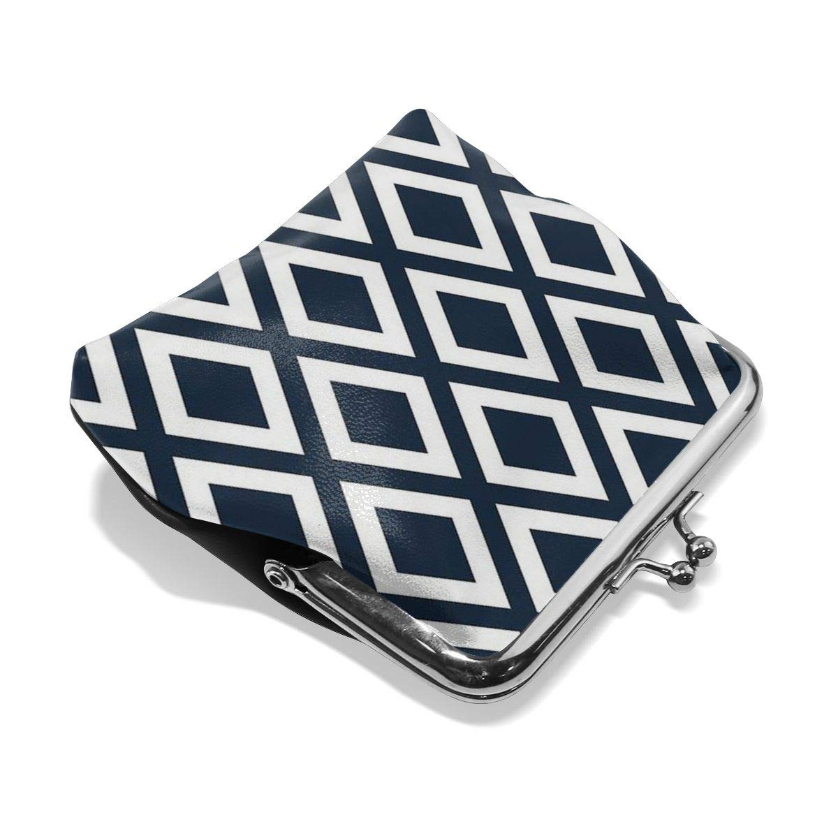 Poream Navy Diamond Pattern Personalized Retro Leather Cute Classic Floral Coin Purse Clutch Pouch Wallet For Girls And Womens