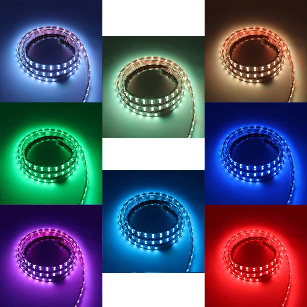XUNATA IP67 Kit de tiras de LED RGB a prueba de agua controlador remoto de 24 teclas SMD 5050 120LEDs // m Cuerda de luz CA 220V 240V Iluminaci/ón interior para interiores con alimentaci/ón 1m