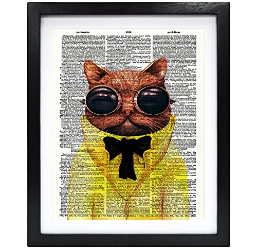 Unframed Steampunk Cat Upcycled Vintage Dictionary Art