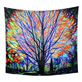 Dreamlike Colourful Life Tree Tapestry Wall Hanging Psychedelic Forest with Birds Wall Tapestry Hippie Bohemian Tapestries Creative Watercolor Wall Decor Art for Bedroom Living Room Dorm 59x79 inches