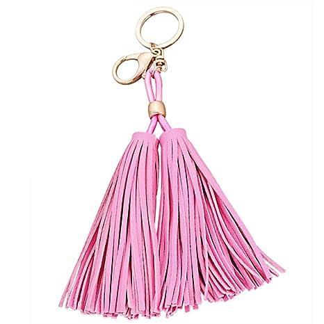PU cuero doble Borla colgante llavero cadena giratoria llavero hebilla para Bolso cartera monedero bolsa accesorios decoración Rosa