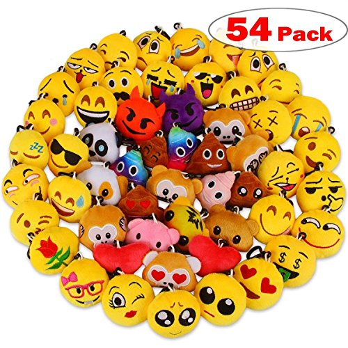 Dreampark Emoji Party Favors, Emoji Keychain 54 Pack Mini Plush Pillows for Kids Birthday Party Supplies / Easter Eggs Fillers, 2