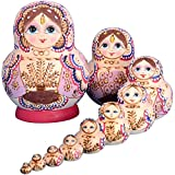 Lakerom 10pcs For Kids Girl Home Decoration Russian Nesting Dolls LRKDTW1007-Khaki