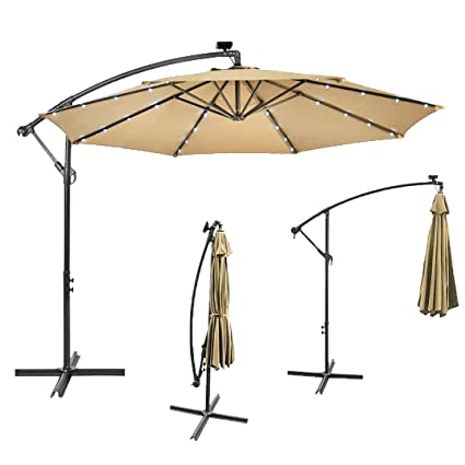 LEAGUEu0026CO 10 Feet Offset Cantilever Patio Umbrella Hanging 32 LED Solar  Lights With Cross Base For