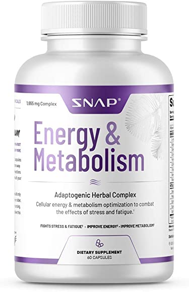 Snap Supplements Natural Energy Metabolism Booster – Supports Weight Control, Reduce Belly Fat, Stress Relief with L-arginine Herbs, Cordyceps, Maca Root, Suma Root – 60 Capsules