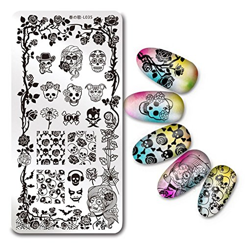 (BORN PRETTY 1Pc Rectangle Stamping Plate Halloween Skull Rose Pattern Nail Art Image Plate Harunouta)
