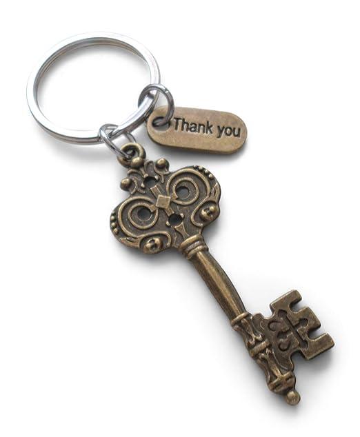 Amazon.com: Bronce llave llavero regalo de agradecimiento ...