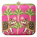 Pink Hard Case Satin Animal Printed Hathi Bageecha Ethnic Clutch Purses for Women