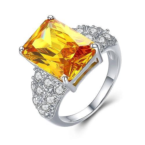 mdean oro blanco color boda compromiso anillos para las mujeres gran amarillo piedra joyas tamaño 6