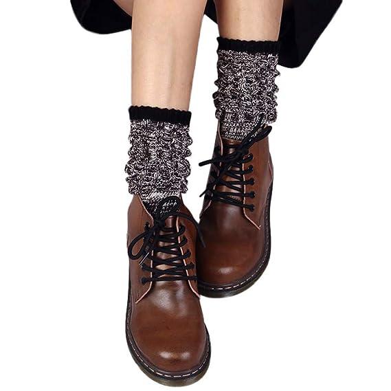 Zarupeng♥♥Nuevo invierno calcetines a media pierna de algodón retro de las mujeres de moda cálida (rojo): Amazon.es: Ropa y accesorios