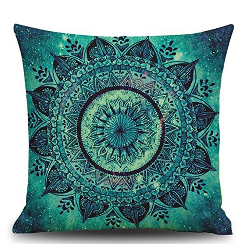 European Retro Mandala Moroccan Ethnic Style Turquoise Teal Color Cotton Linen Throw Pillow Case Personalized Cushion Cover NEW Home Office Decorative Square 18 X 18 Inches (Teal Decorative Throw Pillows)