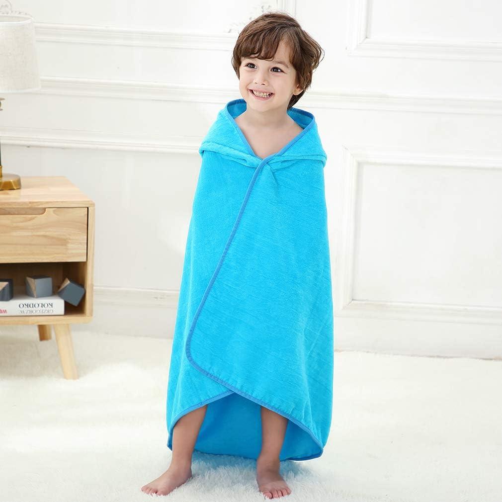 MICHLEY Toalla Ba/ño Bebe 90cm*90cm Algod/ón Toalla infantil con Divertida Capucha para 0-6 a/ños Ni/ño y Ni/ña Azul