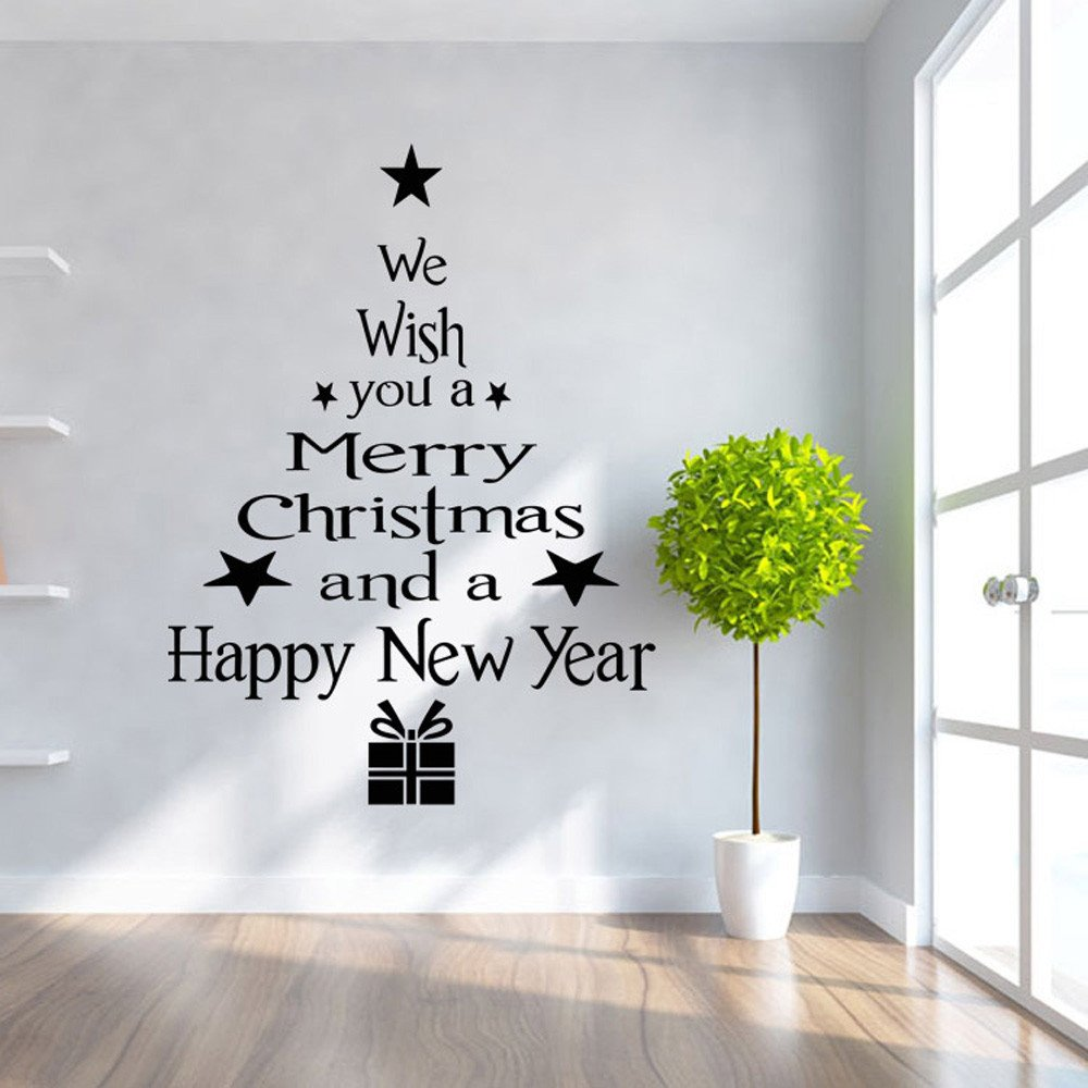 G-real Christmas Wall Sticker, Christmas Tree Letters Stick Wall Art Decal Mural Home Room Decor Wall Sticke for Window Bathroom Kitchen (Black)