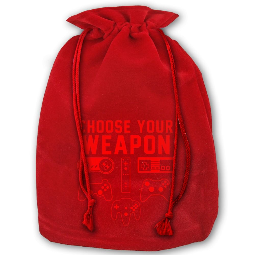 Choose Your Weapon Gaming Console Game Christmas Gold Velvet Drawstring Elastic Gift Bag 35'' X 45''