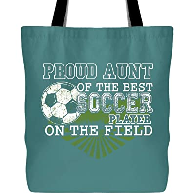 033c9525dab Amazon.com: The Best Soccer Player In The Field Bags with Long & Durable  Handles, Proud Aunt Of A Soccer Player Tote Bag for Shopping (Tote Bags -  Green ...