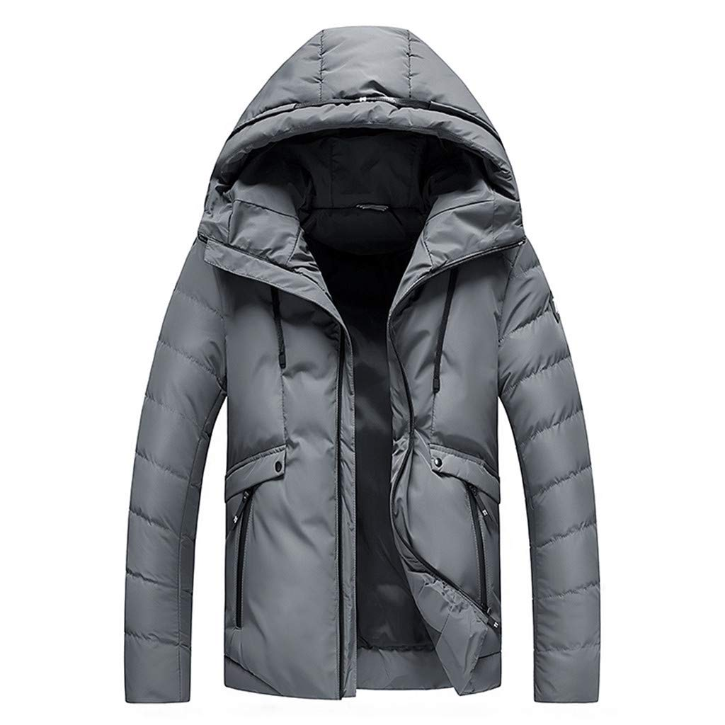Redacel Men Black Warm Cotton Winter Snow Coat Mountain Snowboard Windbreaker Hooded Jacket (Gray,3XL) by Redacel