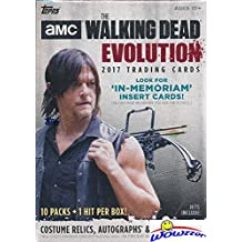 2017 Topps AMC The Walking Dead: EVOLUTION HUGE Factory Sealed 11 Pack Retail Box with Autograph, Costume Relic or Sketch Card! Featuring Characters covering all seven seasons of the hit show! WOWZZER