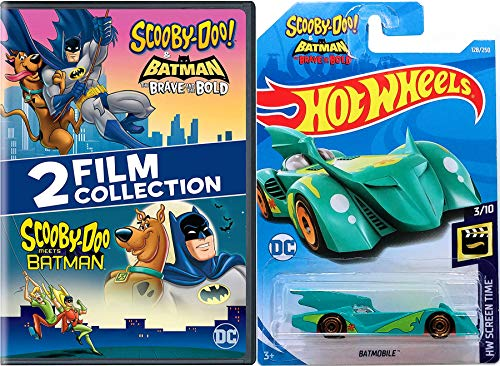 The Dynamic Duo Batman Scooby-Doo Mystery Gang Inc. Solving Crew Scooby-Doo Meets Batman Cartoon DVD animated pack & Brave and the Bold Batmobile Hot Wheels Car ()