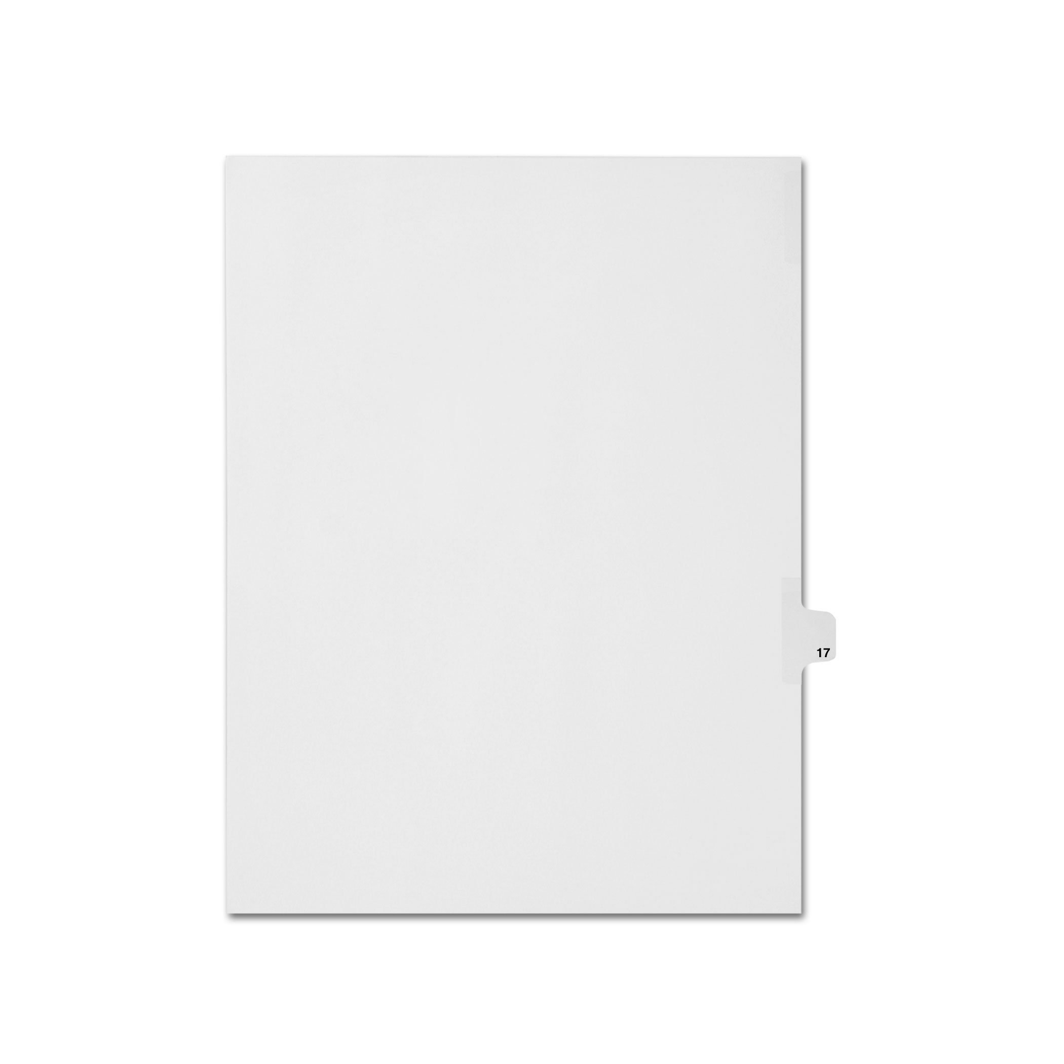 AMZfiling Individual Legal Index Tab Dividers, Compatible with Avery- Number 17, Letter Size, White, Side Tabs, Position 17 (25 Sheets/pkg)