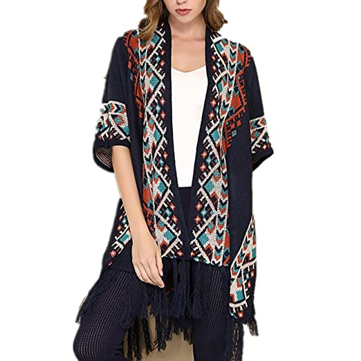 Image Unavailable. Image not available for. Color  Women Printed Tassel Cardigan  Sweater open front knit poncho Capes Shawl Cardigans 0640cb2ab