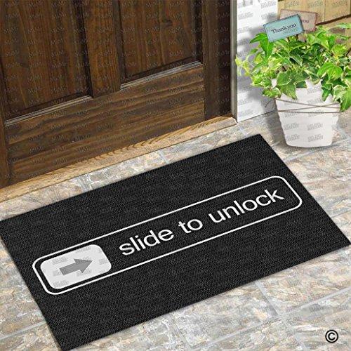 Msmr zerbino d ingresso zerbino Slide to unlock iPhone progettato divertente, per uso interno ed esterno in tessuto non tessuto top 59,9x 39,9cm
