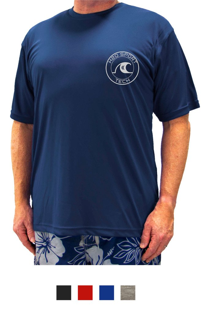 H2O Sport Tech Swim Shirt - Short Sleeve Navy 3XLT #753B
