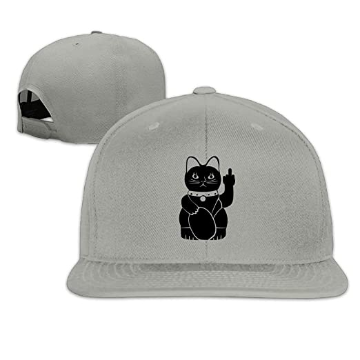b189b7b900d Middle Finger Black Cat Snapback Adjustable Flat Bill Visor Baseball Cap at  Amazon Men s Clothing store