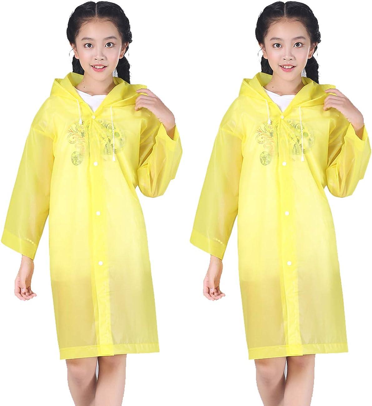 TIHOOD 2PCS Kids Rain Ponchos Reusable Raincoats Portable Rain Wear with Hat Hood Unisex for 6-12 Years Old Children