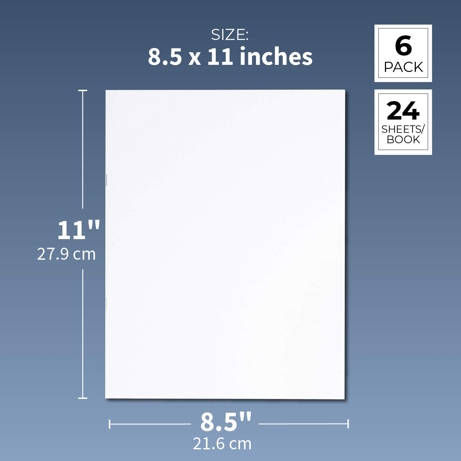 24-Pack Unlined Books Childrens Writing Books White 4.25 x 5.5 Inches Creative Class Projects Blank Notebook 24 Sheets Each Unruled Plain Travel Journals for Students School