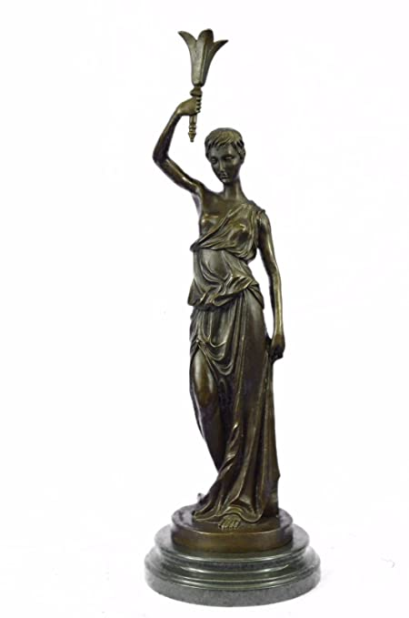 100% Solid Bronze By Lost Wax Method Woman With Long Dress And Puppy Dog Decor Art
