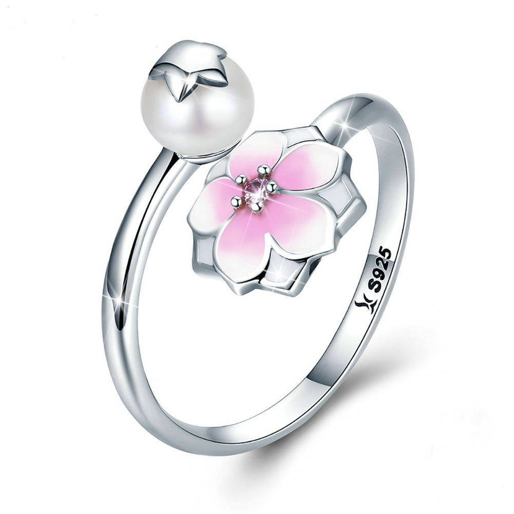 4140c872f Forever Queen Magnolia Bloom Ring, Flower Ring 925 Sterling Silver Pale  Cerise Enamel Opening Adjustable Finger Ring for Women Sterling Silver  Jewelry ...
