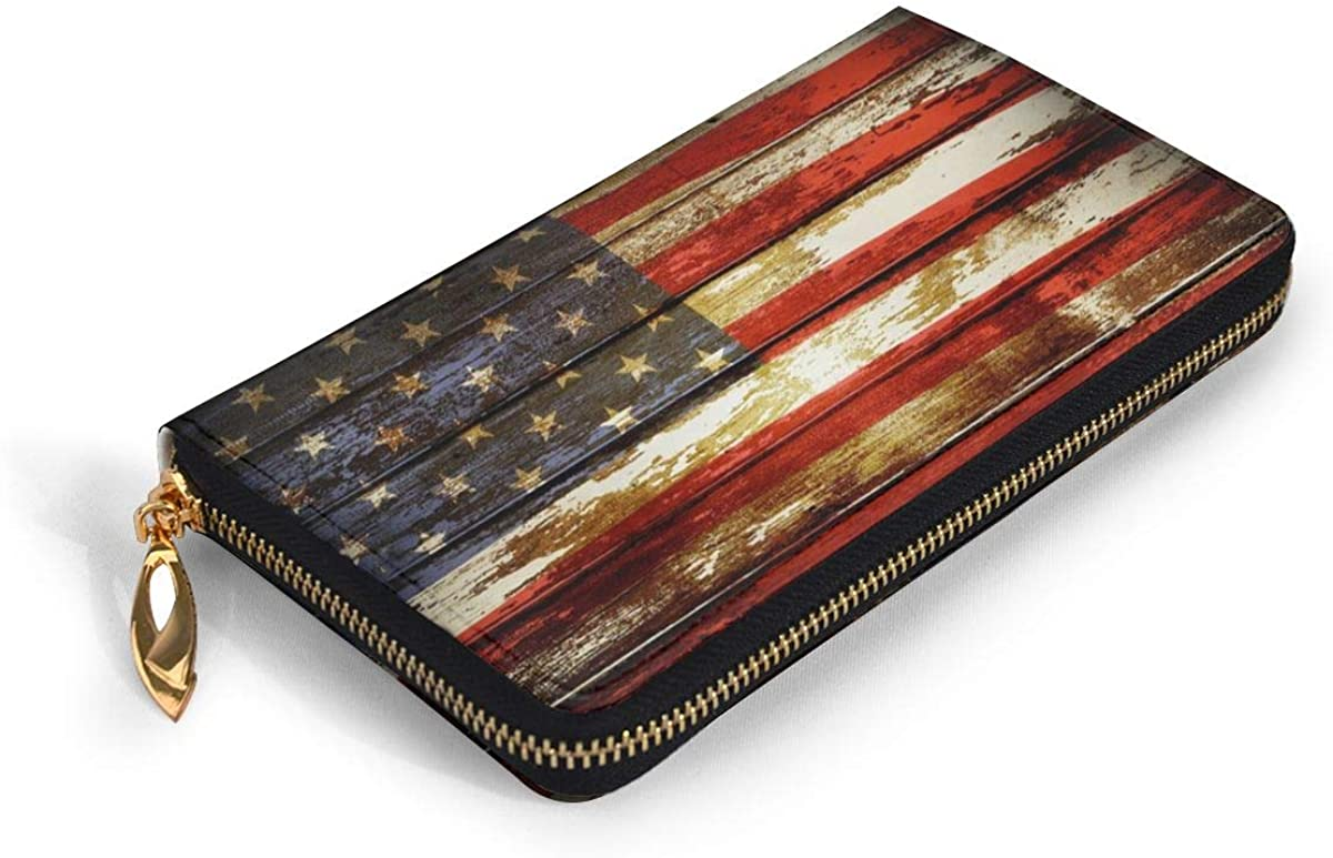 Closeup Of American Flag On Boards Leather Wallet For Women Zip Around Wallet Clutch Thick Large Capacity Custom Print Wallets Travel Phone Checkbook Coin Card Holder