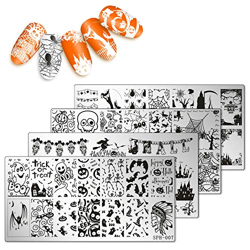 Pretty Halloween Nails (Whaline 4 Pieces Halloween Nail Art Plates Image Stamp Templates Stamping Kit DIY Print Manicure Salon)