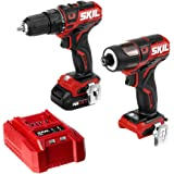 SKIL 2-Tool Kit: PWRCore 12 Brushless 12V 1/2 Inch Cordless Drill Driver and 1/4 Inch Hex Impact Driver, Includes 2.0Ah Lithium Battery and Standard Charger - CB738401