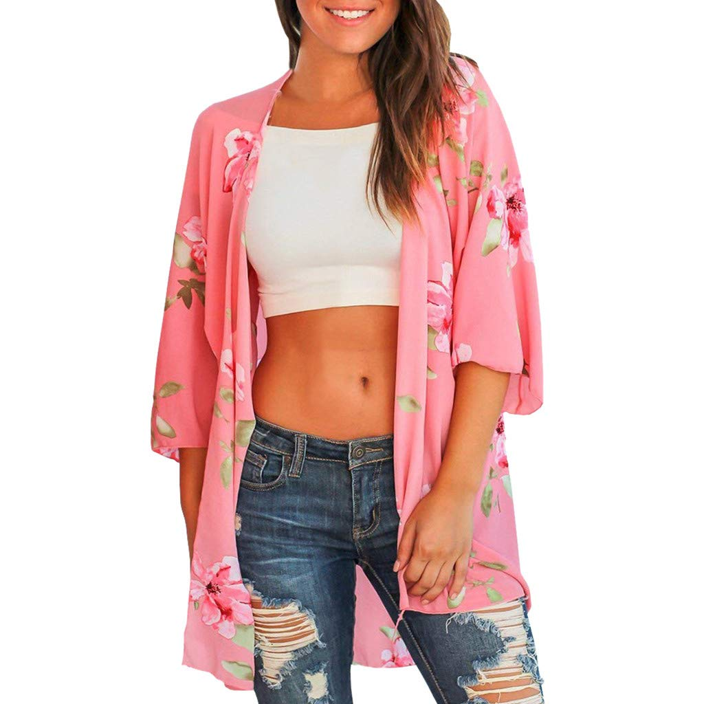 NUWFOR Fashion Womens Printing Short Sleeve Cardigan Long Smock Easy Blouse Tops(Pink,XL US Bust:43.3'')