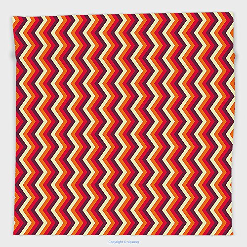 Vipsung Microfiber Ultra Soft Hand Towel-Retro Vintage Zig Zag Chevron Motif In Funky Dynamic Parallel Stripe Graphic Yellow Orange Red Maroon For Hotel Spa Beach Pool (Parallel Tie Cabinet)