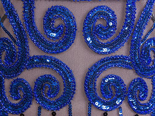 Gatsby embellecido Vestido Vijiv franja Rosado mujer lentejuelas Inspirado la larga Vintage Azul 1920 xX1AXqz