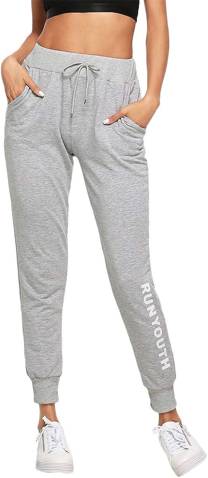 DIDK Femme Pantalon Surv/êtement Pantalons avec Applique Grand Taille Avoir Poches Taille Haute pour Sport Casual-Gris Fonc/é-Small