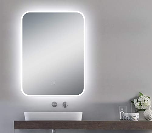 LED Backlit Illuminated Mirror 24 x32 . Wall Mounted for Bathroom, Makeup. Hardwired and Easy to Install. Bright White Light 20w Behind Rectangular Inset Frosted Glass for Flattering Glow