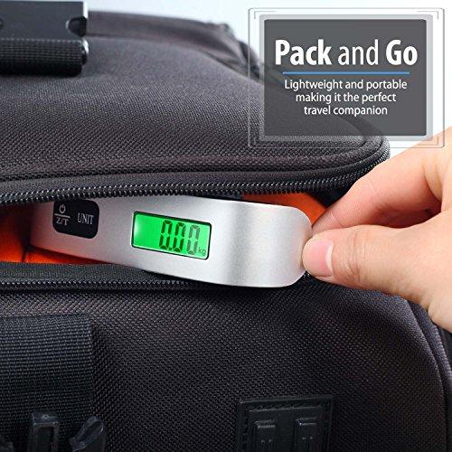 Escala de equipaje digital (2 paquetes), Fosmon escala de pesaje de equipaje digital con sensor de temperatura, hasta 110 lb / 50 kg con función de tara: ...