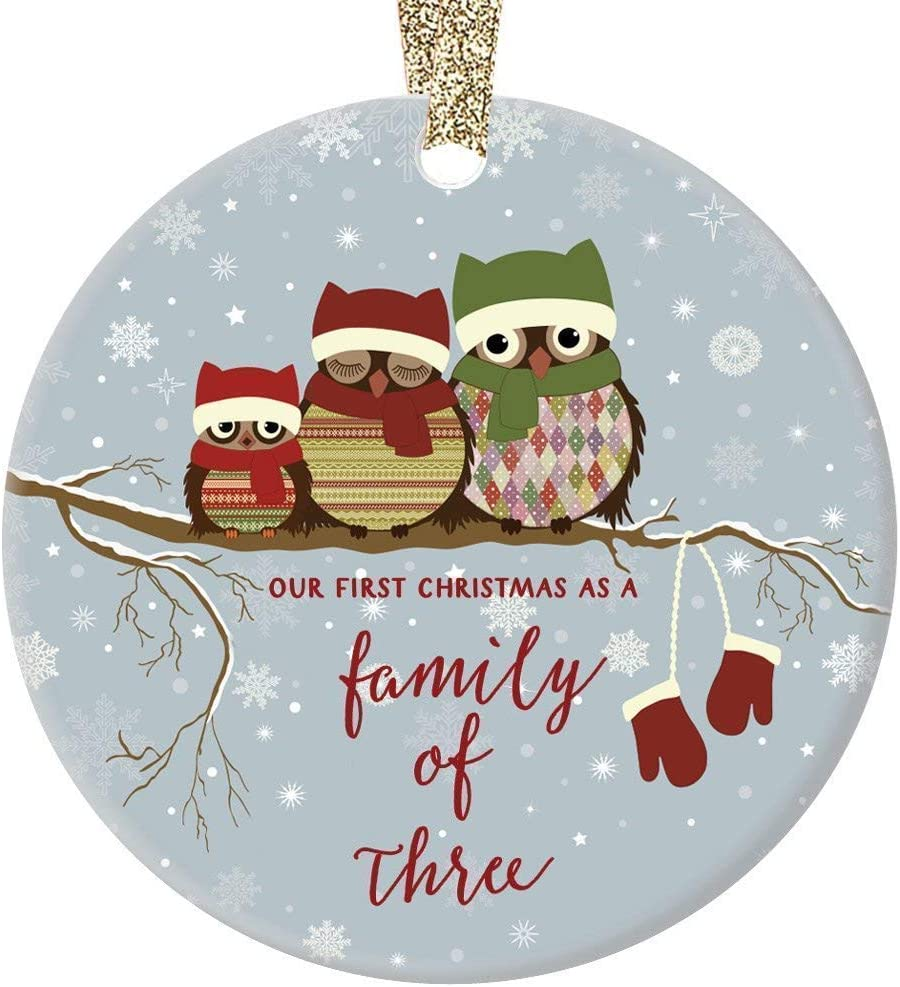 New Family Gift Collectible Holiday Keepsake New Parent Present Family of 3 Owl Ceramic Christmas Tree Ornament