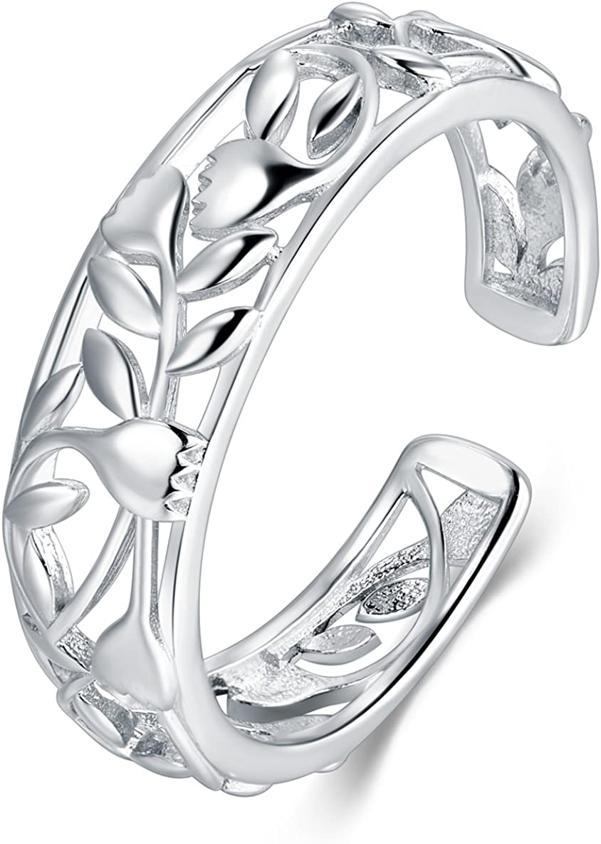BORUO 925 Sterting Silver Toe Ring, Rose Flower Design Adjustable Band Ring