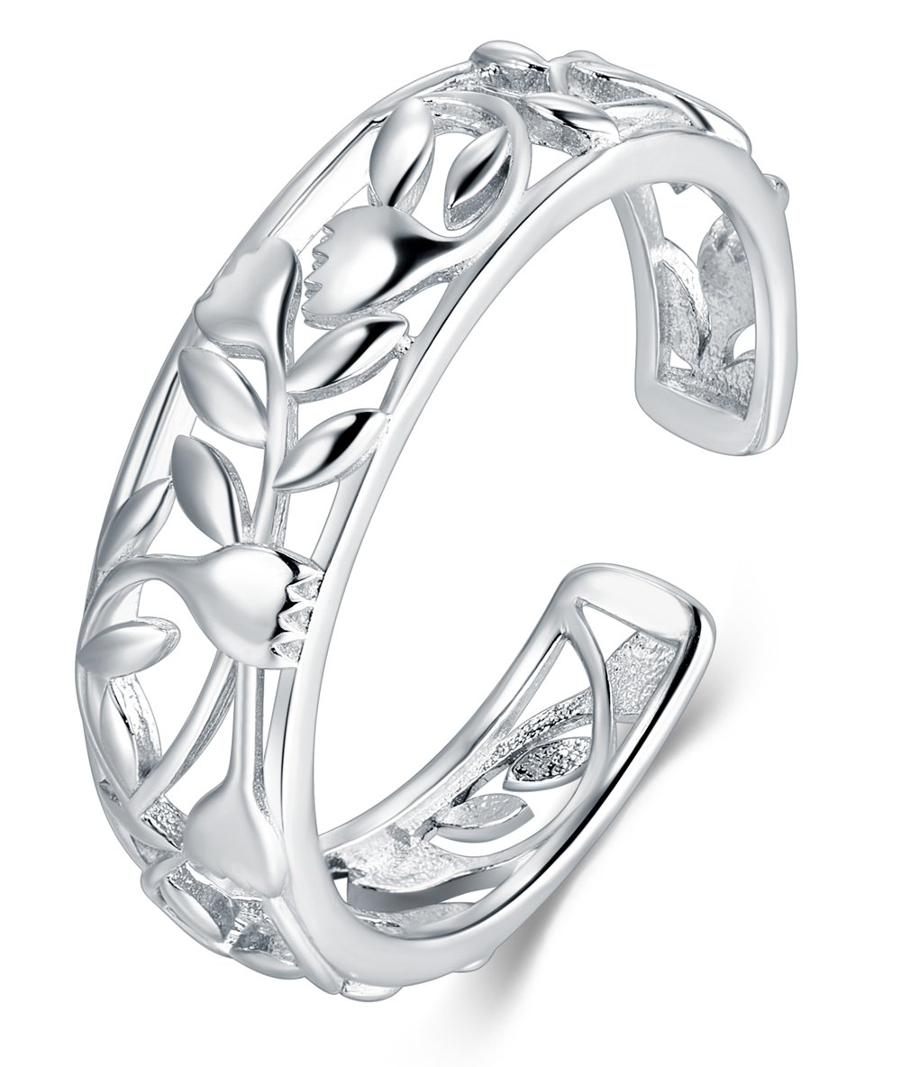 BORUO 925 Sterting Silver Toe Ring Rose Flower Design Adjustable Band Ring