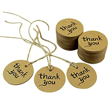 2571030b247 Image Unavailable. Image not available for. Color: Dxhycc 100PCS Thank You  Wedding Brown Kraft Paper Tag gifts ...
