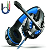 LED Gaming Headset – Surround Sound Gaming Headset, Professional Gaming Headset,Over Ear Gaming Headphone with Microphone Noise Isolating LED Light for PC Games PS4 and 3.5mm Audio Splitter - Blue