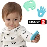 2 Pack Baby Teething Toys for Newborn Boy & Girl - Teethers for Babies BPA Free - Silicone Teether for Infant & Toddler To Chew – Teething Pain Relief Baby Teether Toys - Rubber Elephant Baby Chew Toy
