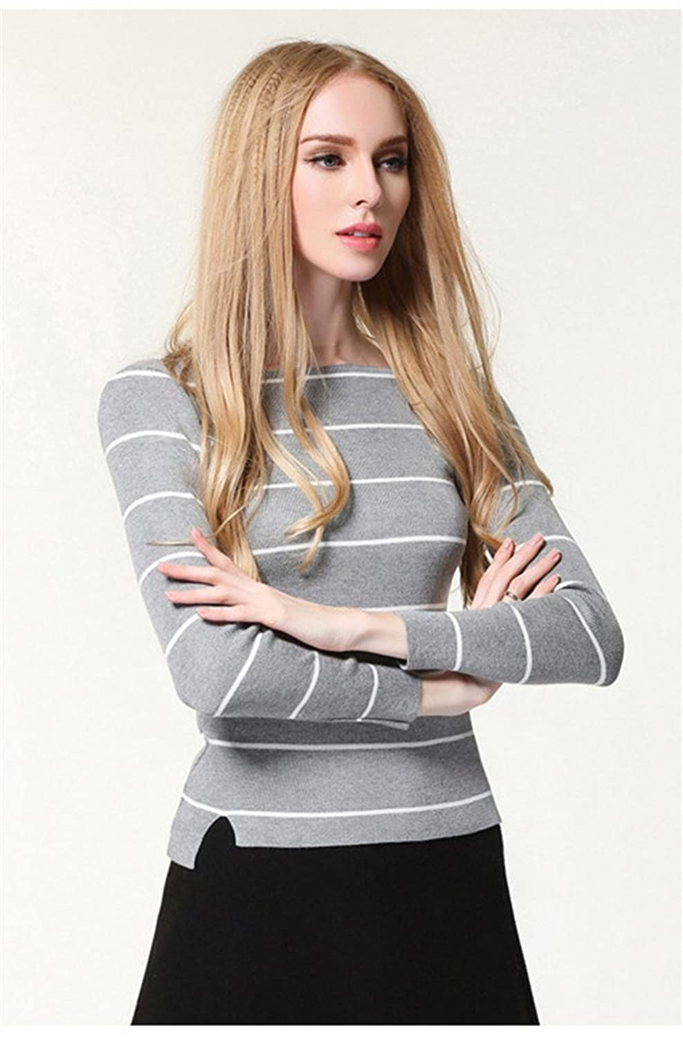 ViviClo Women's Classic Stripe Bottoming Pullover Sweater