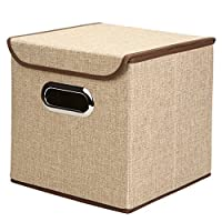 """Generic Non-Woven Foldable Storage Box Cube Basket Bin With Lid, 1 Pack,9.8""""x9.8""""x9.8"""" by Xinpin"""